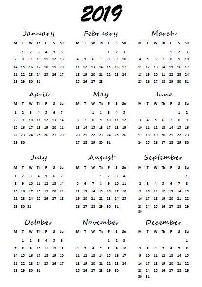 2019 Year At-A-Glance free printable calendar (english & greek version) | Ioanna's Notebook